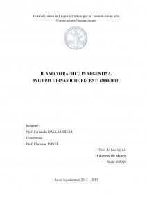 IL NARCOTRAFFICO IN ARGENTINA SVILUPPI E DINAMICHE RECENTI 2000- 2013