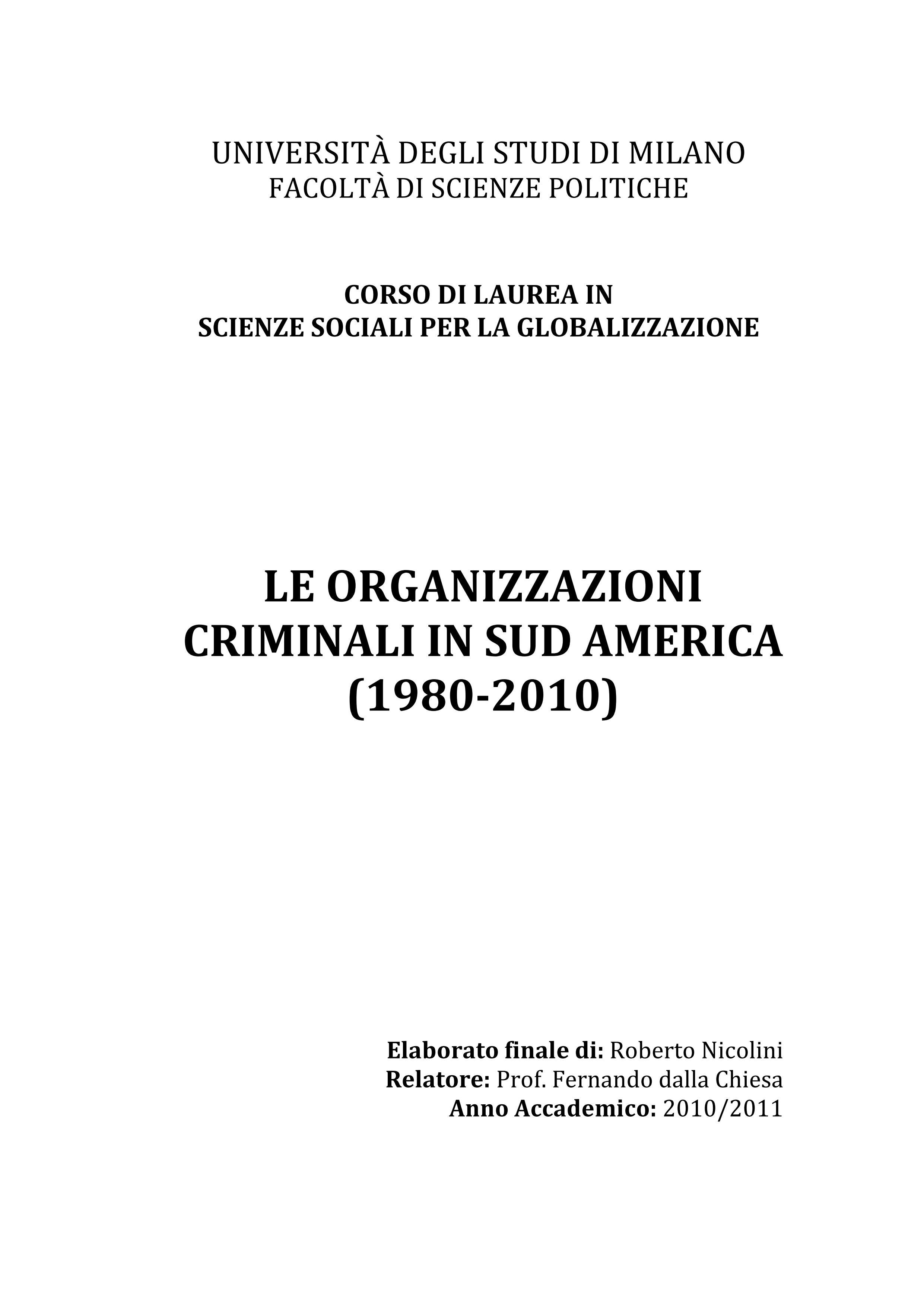 Le organizzazioni criminali in Sud America (1980-2010)_01