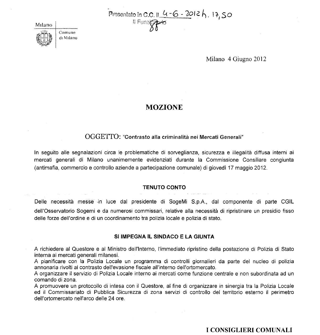 Mercati Generali a Milano: mozione sicurezza.