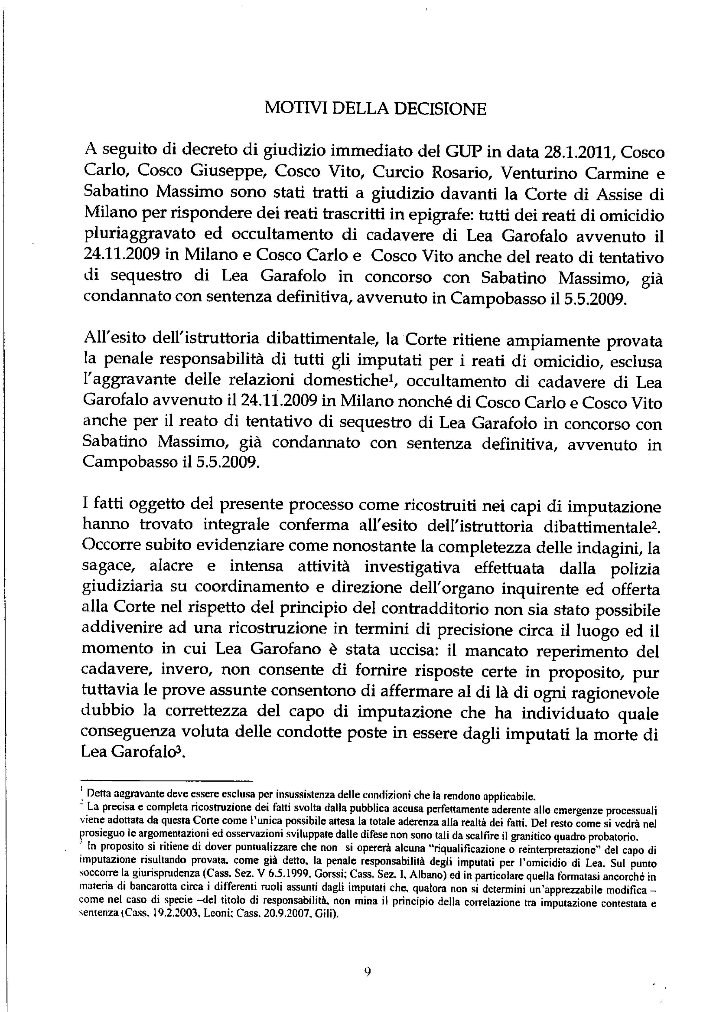 Motivazioni della sentenza del processo Lea Garofalo