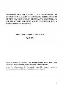 Sesta relazione comitato antimafia milano