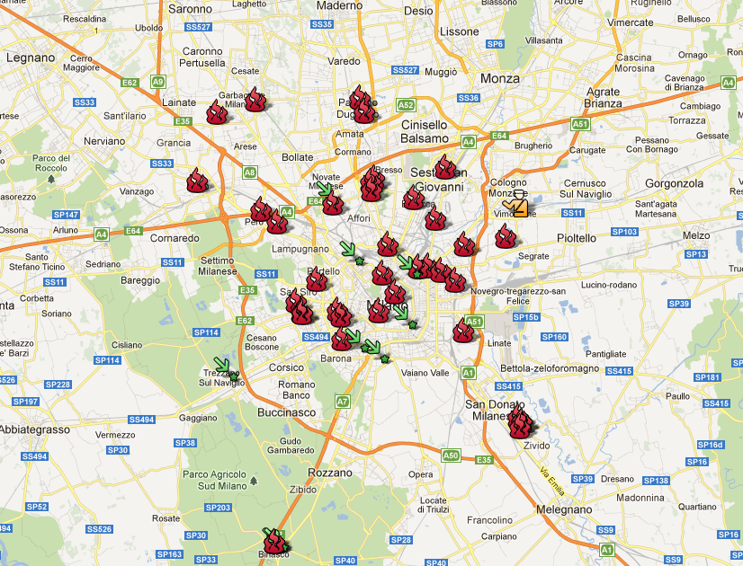 Milano: incendi, intimidazioni e omicidi 2011-2012