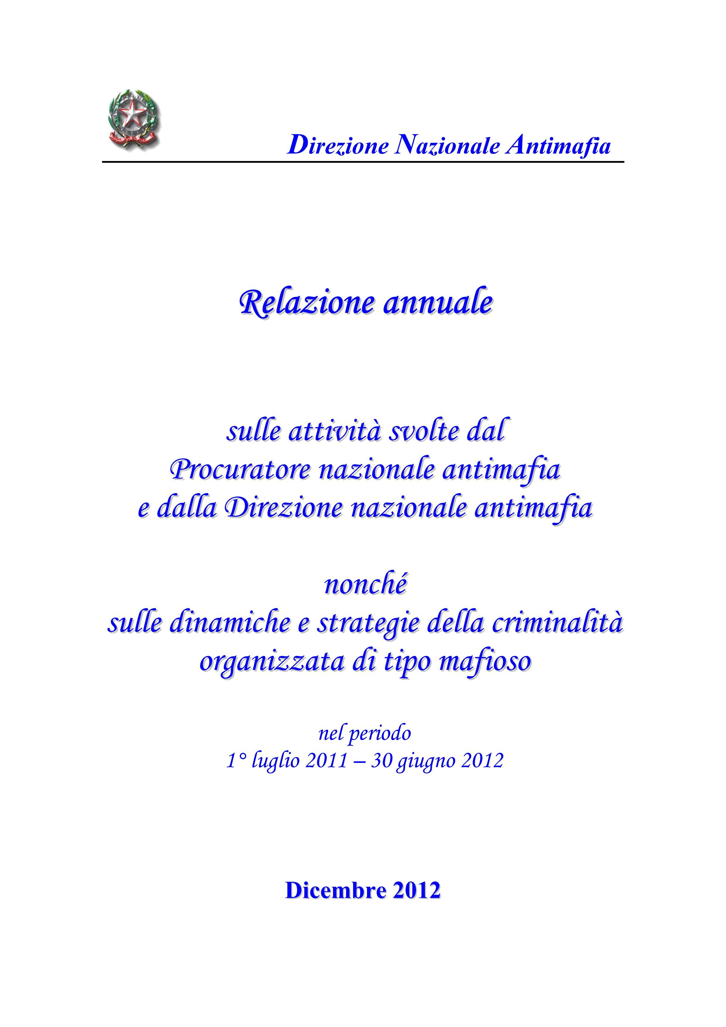 Relazione annuale della Direzione Nazionale Antimafia (DNA)