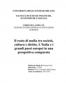 Il reato di mafia tra società cultura e diritto. L'Italia e i grandi paesi europei in una prospettiva comparata.