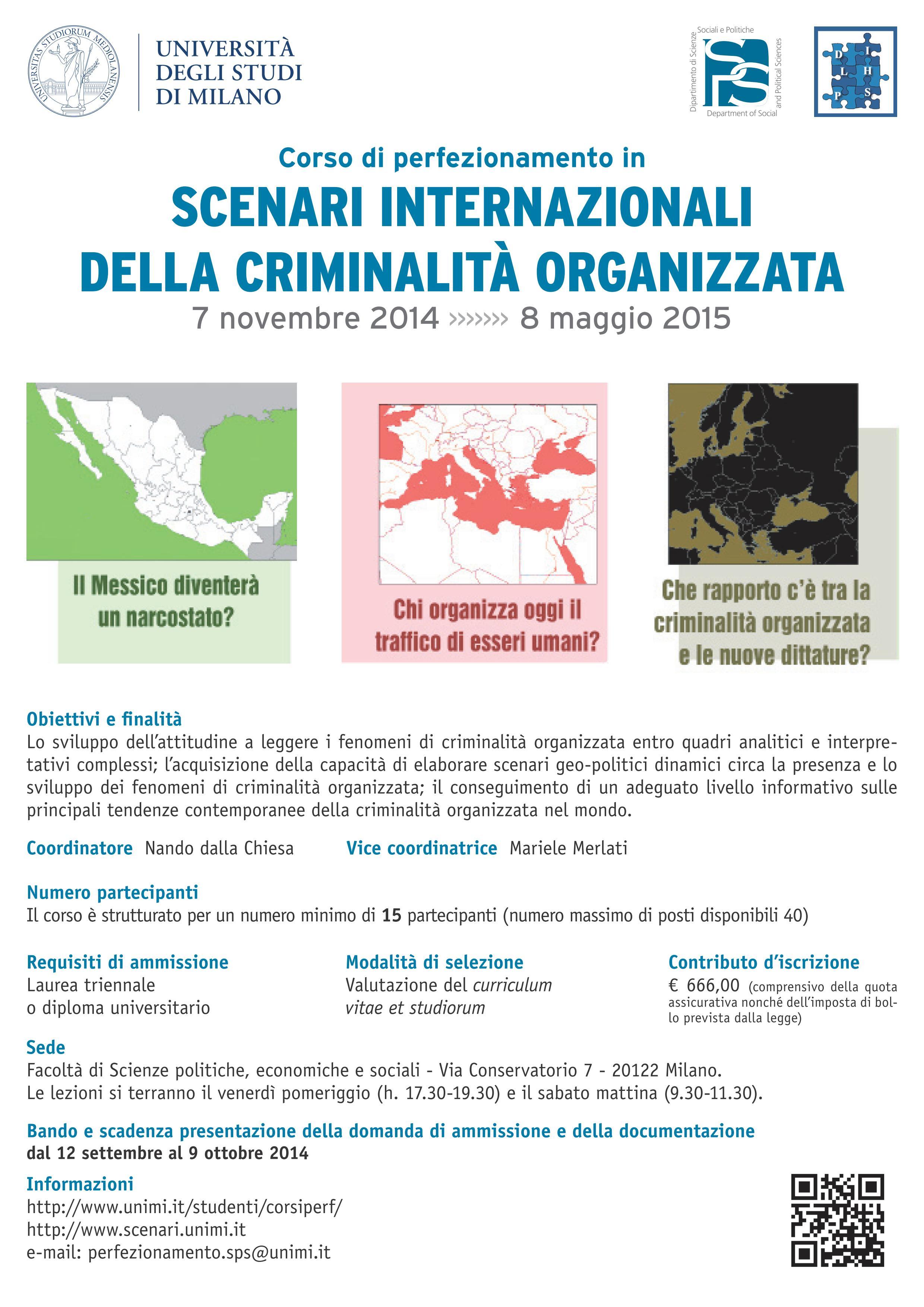 Torna il Corso di Perfezionamento in Scenari Internazionali della Criminalità Organizzata