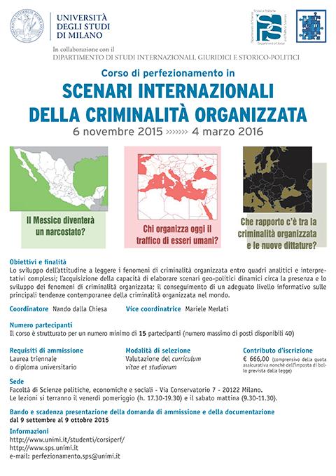 Scenari internazionali della criminalità organizzata: aperte le iscrizioni