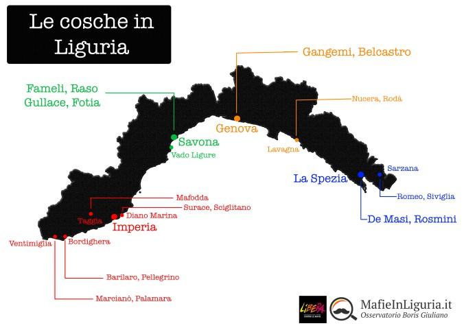 La 'ndrangheta in Liguria – mappatura delle cosche