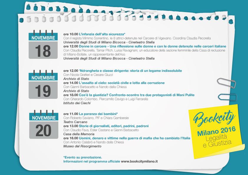 BookCity Milano 2016: tutti gli eventi in tema di legalità e giustizia