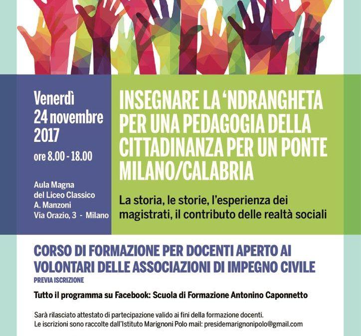 """Ponte Milano-Calabria: corso di formazione per docenti """"Insegnare la 'ndrangheta"""""""