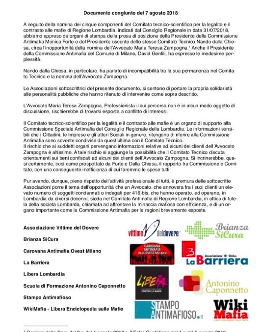 Comitato tecnico antimafia di Regione Lombardia, il comunicato delle associazioni sulla nomina dell'avvocata Zampogna