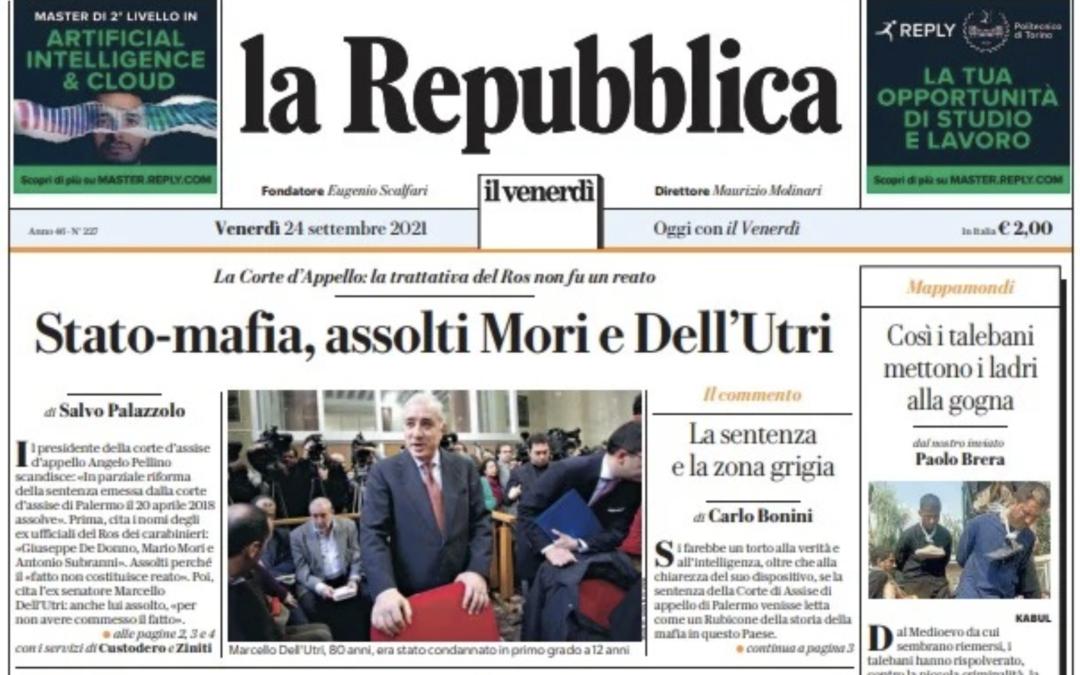 La sentenza d'appello sulla trattativa stato-mafia: il punto di vista dei quotidiani locali, nazionali e internazionali